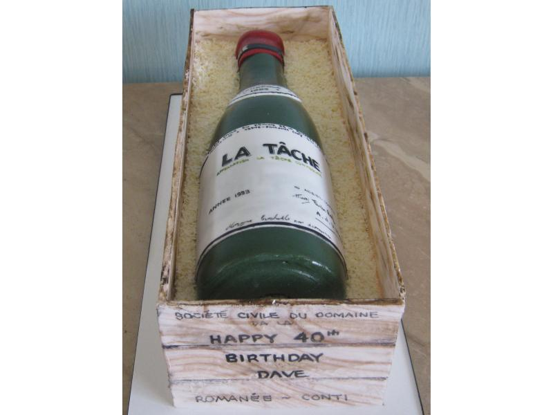 La Tache wine bottle shaped cake for a wine connoisseur from Pilling in sugar paste (including box)
