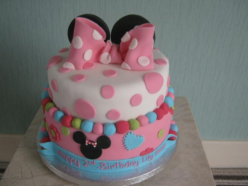 Minnie Mouse themed cake for Lily in Preston. 2 tier Vanilla sponge for Lily's 2nd birthday.