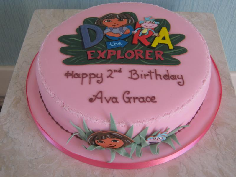 Dora The Explorer themed plain sponge cake with monkeys for Ava Grace's 2nd birthday