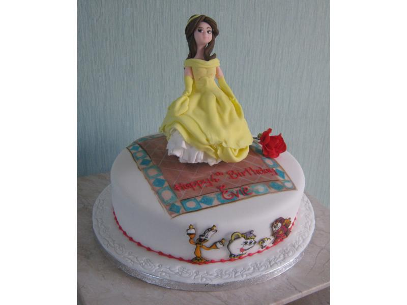Belle - based on Beauty and the Beast in lemon sponge for Evie's 4th birthday in Freckleton