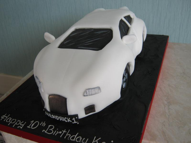 White Lambourghini made from plain sponge for a twin's 10th birthday in Poulton le Fylde