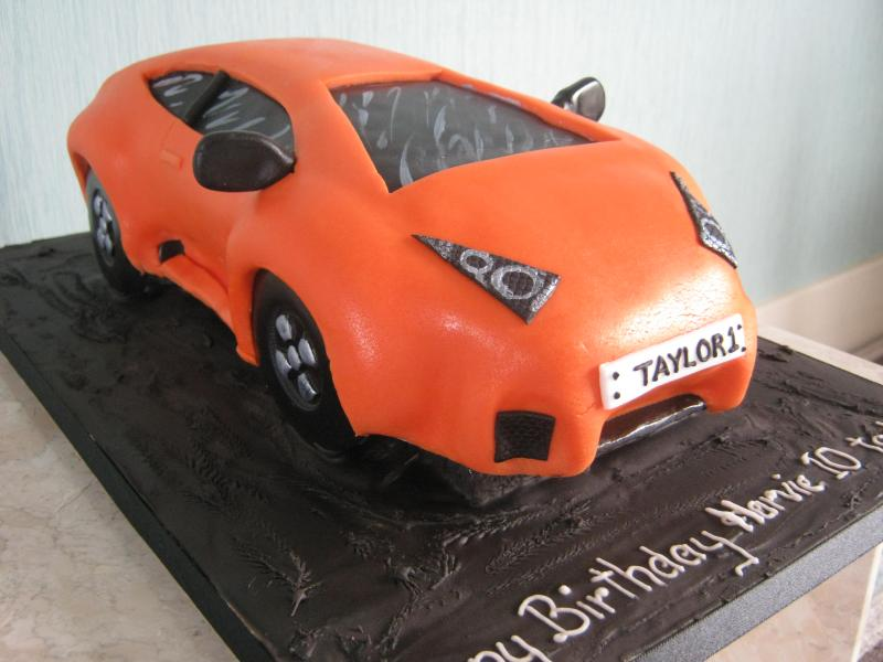 Orange Lambourghini in chocolate sponge for Harvie's 10th birthday in Poulton