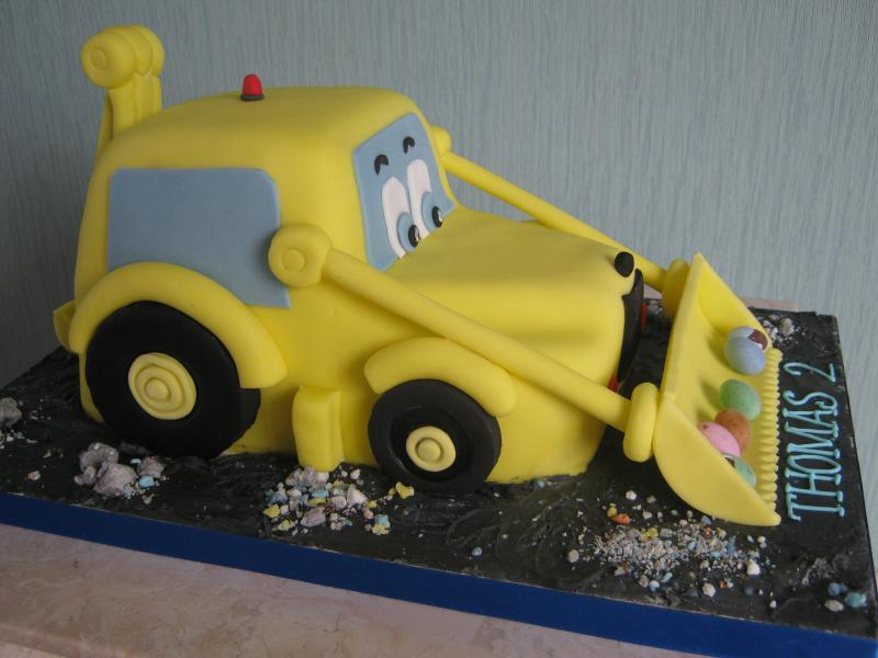 Digger - childrens' cartoon character in sponge for Thomas's 2nd birthday - Fleetwood