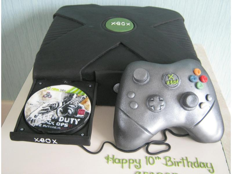 XBox consol and controller with Call of Duty Game in Madeira sponge for George's 10th birthday in South Shore