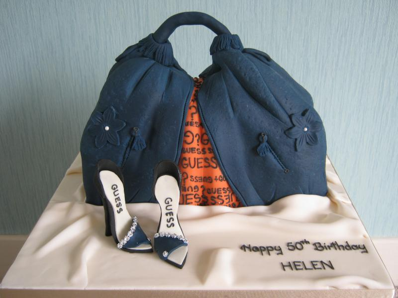 Guess Handbag and Shoes cake in sponge for Helen's 50th birthday in Bolton