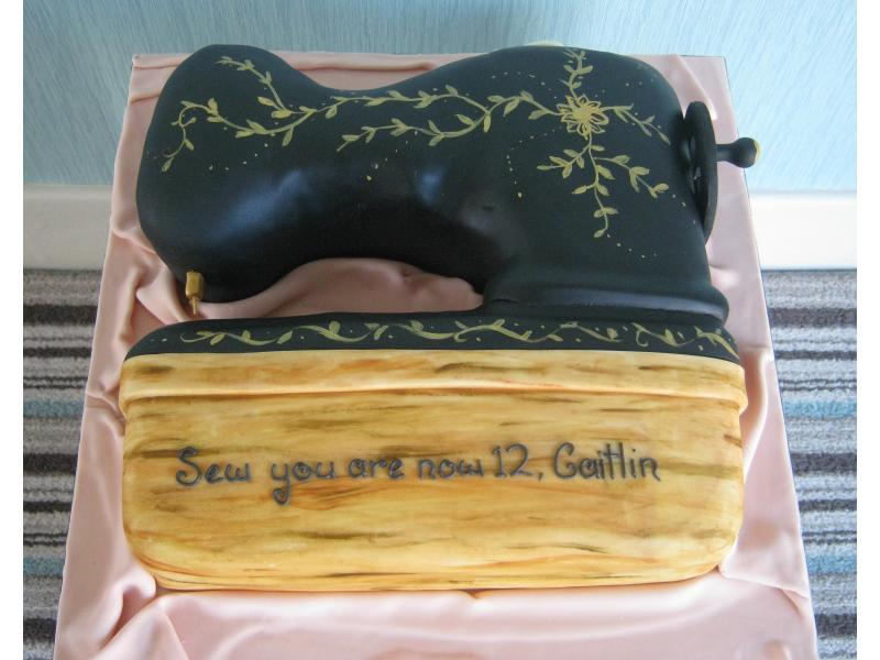 Singer Sewing Machine cake in chocolate sponge for sewing mad Catlin's birthday in Lytham