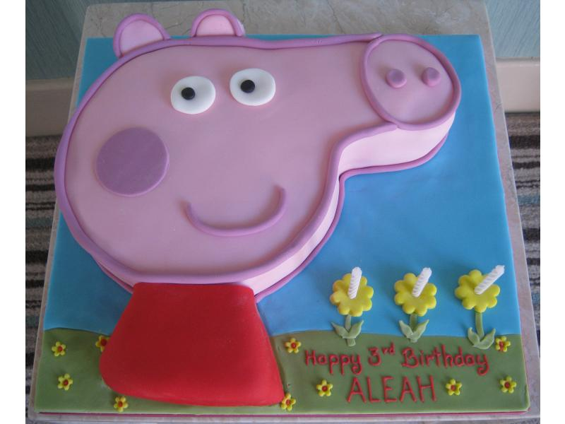 Peppa Pig lemon sponge birthday cake for Aleah in Bispham