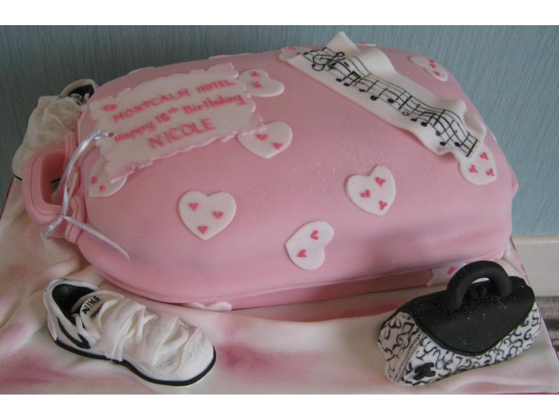 Girly Suitcase for Nicole's 18th birthday showing her interests in music, athletics and shopping in plain sponge for Wrea Green
