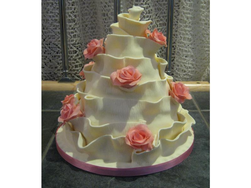 Nicola single tier of wedding Cake in sponges to Holland House Hotel, Upholland