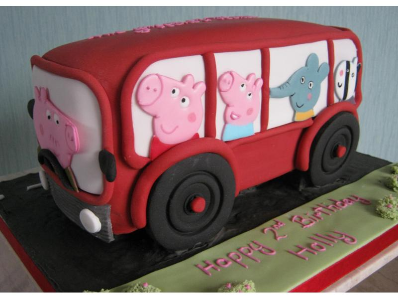 Peppa Pig on a bus made from plain sponge for Holly's 2nd birthday in Thornton