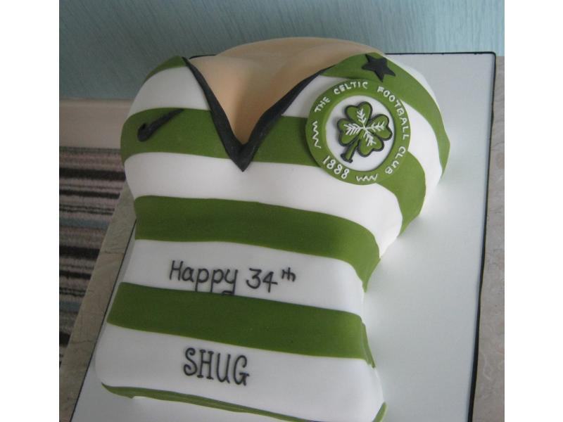 Celtic shirt worn by a female for Shug's 30th birthday in Blackpool in chocolate sponge