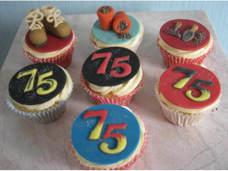 Gardener's cupcakes for 75 year old Bill in Thornton-Cleveleys, some in Madeira sponge and some in chocolate sponge.