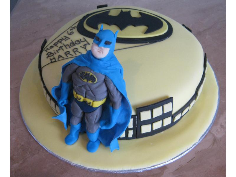 Batman - for a superhero fan Harvey on his 6th birthday in Blackpool. Made from chocolate sponge.
