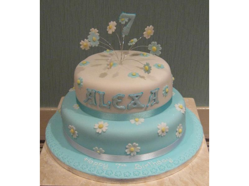 Alexa - 7th birthday cake in Madeira and chocolate sponges with daisy  burst decoration for party in St Annes