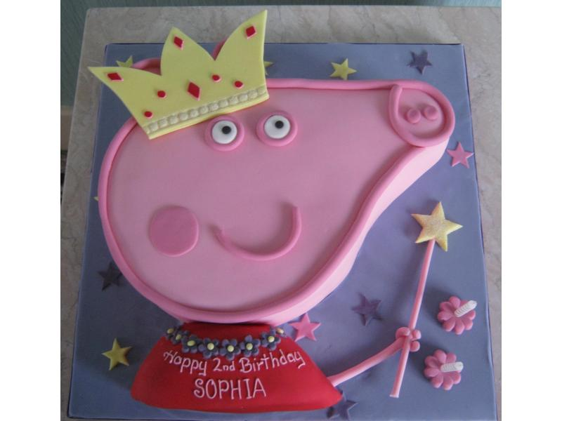 Peppa Pig Princess in lemon sponge for Sophia's 2nd birthday in Thornton