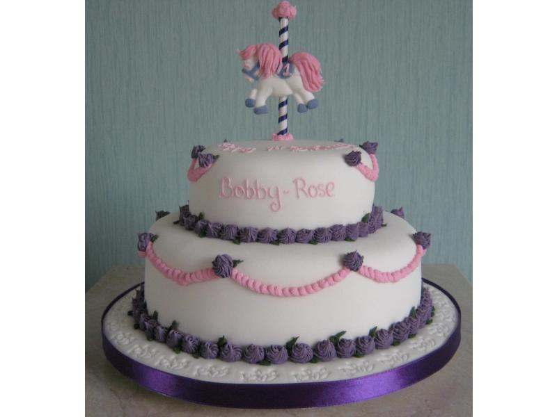 Carousel Pony on plain sponge cake for Bobby-Rose's 1st birthday in Blackpool