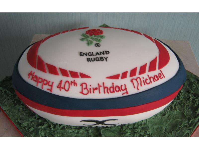 England Rugby Ball for rugby fan Michael in St Annes, made from plain sponge