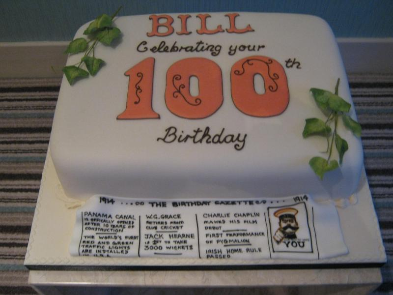 Bill's 100th birthday cake in fruit cake for a celebration in Thornton-Cleveleys