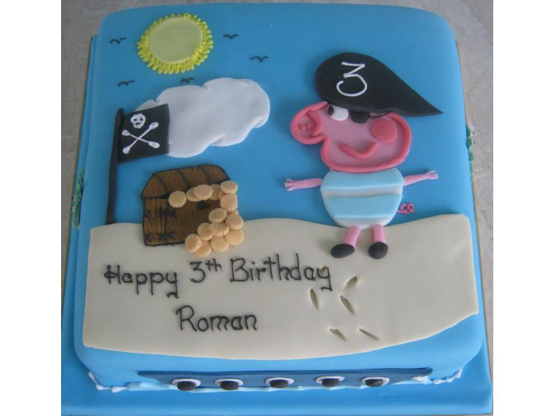 Pirate George Pig in vanilla sponge for Roman's birthday in Layton