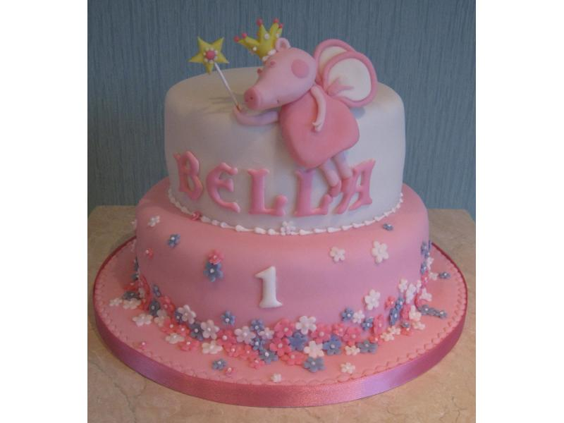 Bella's 1st birthday cake in Madeira sponge with Pricess Peppa Pig