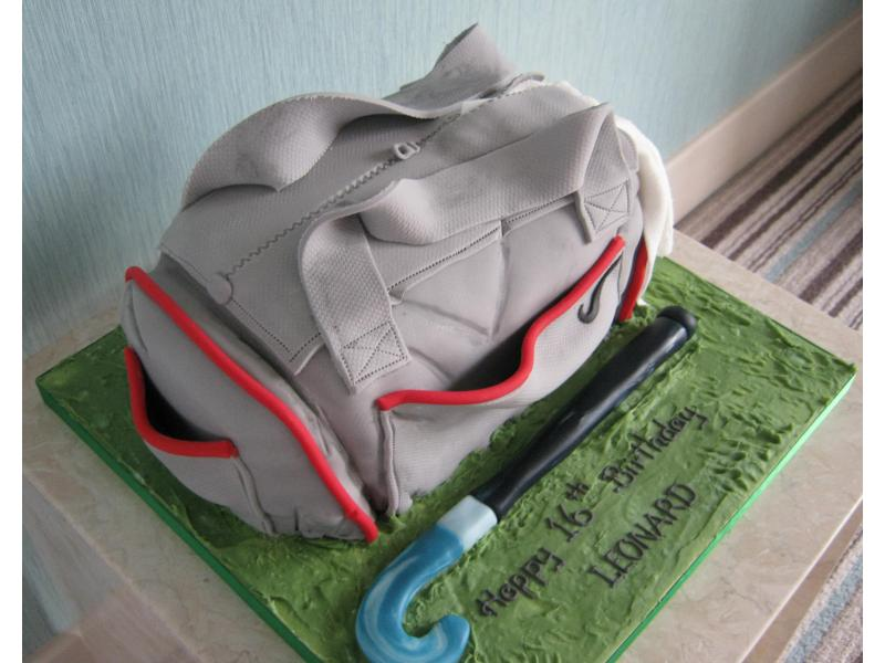 Sportsbag for a hockey player in Fleetwood made from chocolate sponge