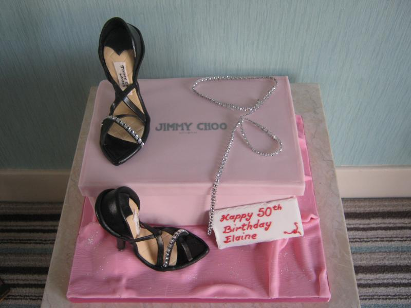 Jimmy Chooshoes and shoebox in plain sponge to celebrate Elaine's 50th birthday in Burscough