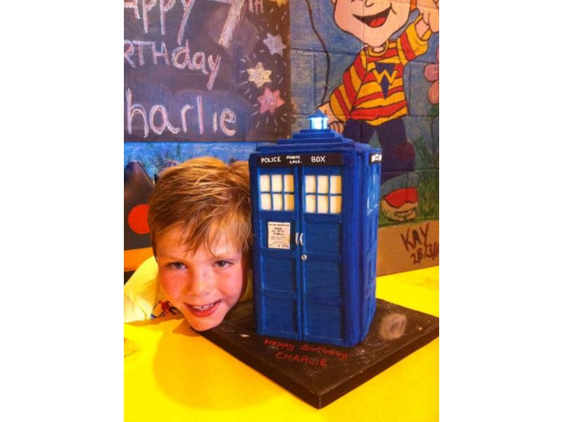 Tardis - Dr Who's Tardis complete with flashing light in chocolate sponge for Charlie's birthday in Lytham St Annes