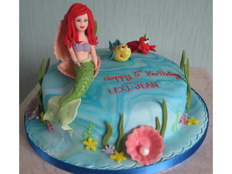 Ariel in vanilla sponge for Lexi-Jean in Blackpool 3rd birthday