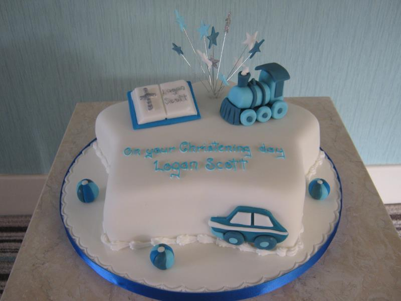 Logan's blue-themed Christening Cake in lemon sponge for a 2 year old in Lytham