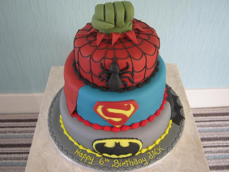Super Heroes Cake featuring Batman, Superman & Spiderman for Jack's 6th birthday from chocolate, madeira and lemon sponges