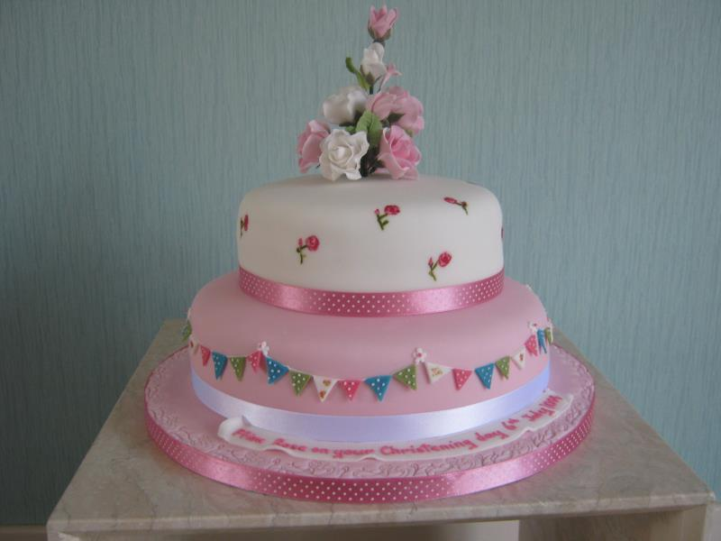 Cath Kidston themed Christening Cake with roses i chocolate sponge for Ffion Rose in Thornton-Cleveleys