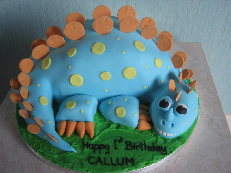 Henry dinosaur cake for Callum in Lytham from Madeira sponge for 1st birthday