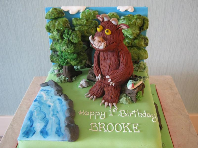 Gruffalo character in dairy free sponge for Brooke's birthday in Thornton