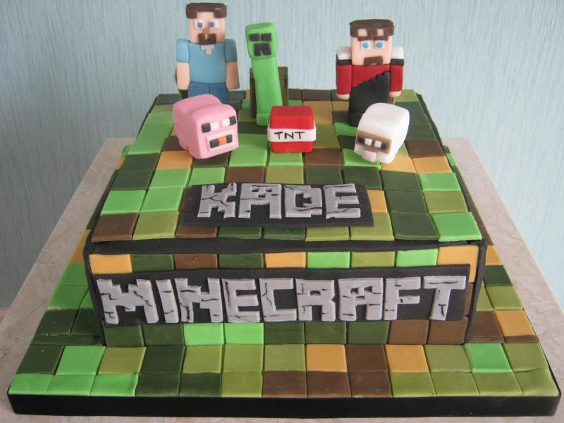Minecraft for Kade's birthday Preesall, Over Wyre in plain sponge