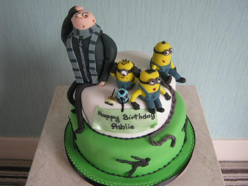 Despicable Me with Minions cake in lemon sponge for Kian's birthday in Blackburn