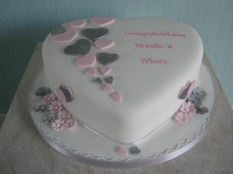 Nicola and Marc's white,silver and pink Engagement Cake for their celebration in #Blackpool. Made from Madeira cake