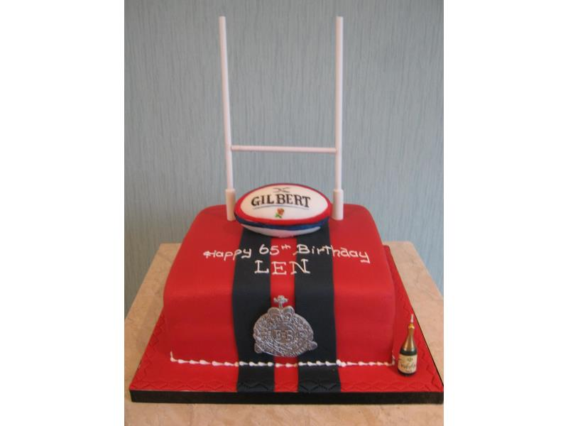 Len - Rugby field cake for Len on his 65th birthday in #Lytham. Made from vanilla sponge