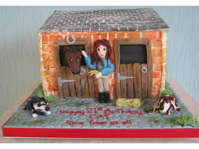 Stable Scene - 21st Birthday cake for Cat in #Bispham who is horse mad. Cake made in chocolate sponge