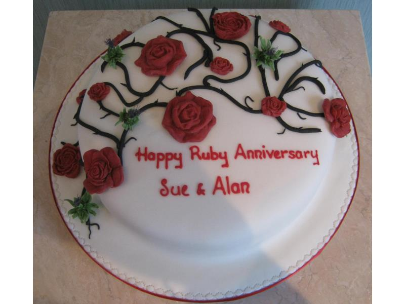 Sue and Alan - Ruby Wedding Anniversary in lemon sponge for their celebration in #Thornton-Cleveleys