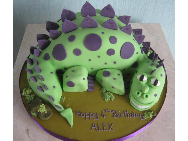 Green dinosaur with purple spots for Alex's birthday in #Fulwood, made from Madeira