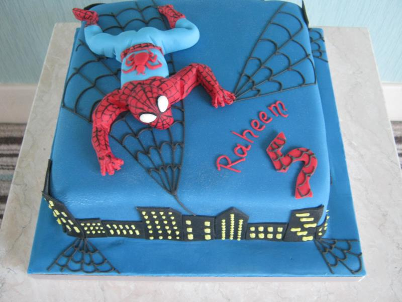 Spiderman - superhero Madeira cake for Raheem in #Alderley Edge