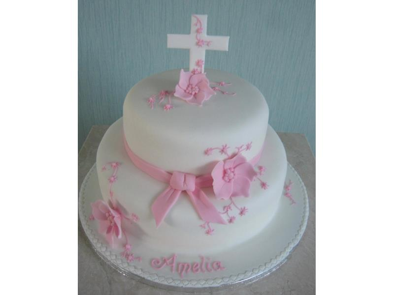 Amelia - delicate pink Christening Cake in vanilla and chocolate sponges for celebrations in #Blackpool