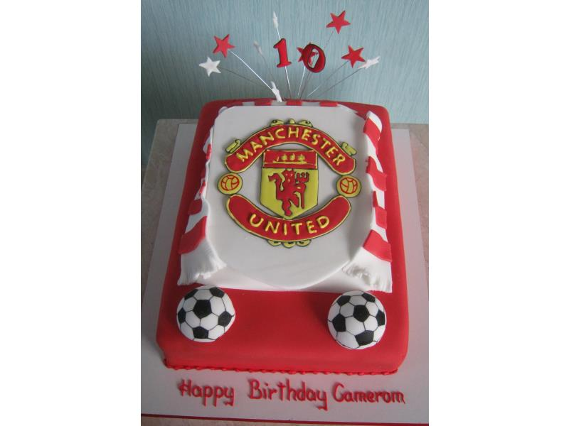 Man Utd crest for a big 10 year old fan Cameron in #Blackpool from Madeira sponge.