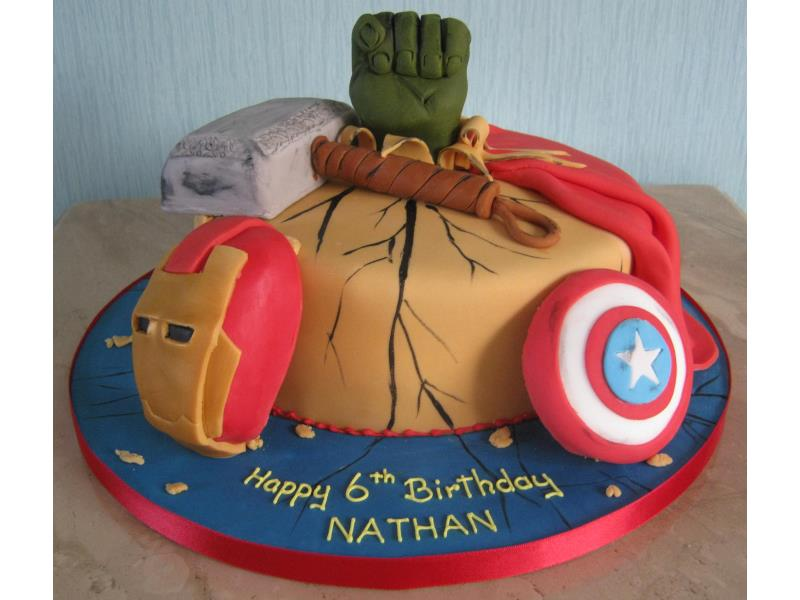 Marvel - single tier superheroes plain sponge cake for Nathan in #Blackpool