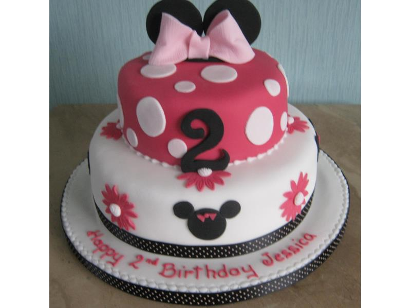Minnie Mouse - 2 tier vanilla sponge cake for Jessica's birthday in  #Blackpool.