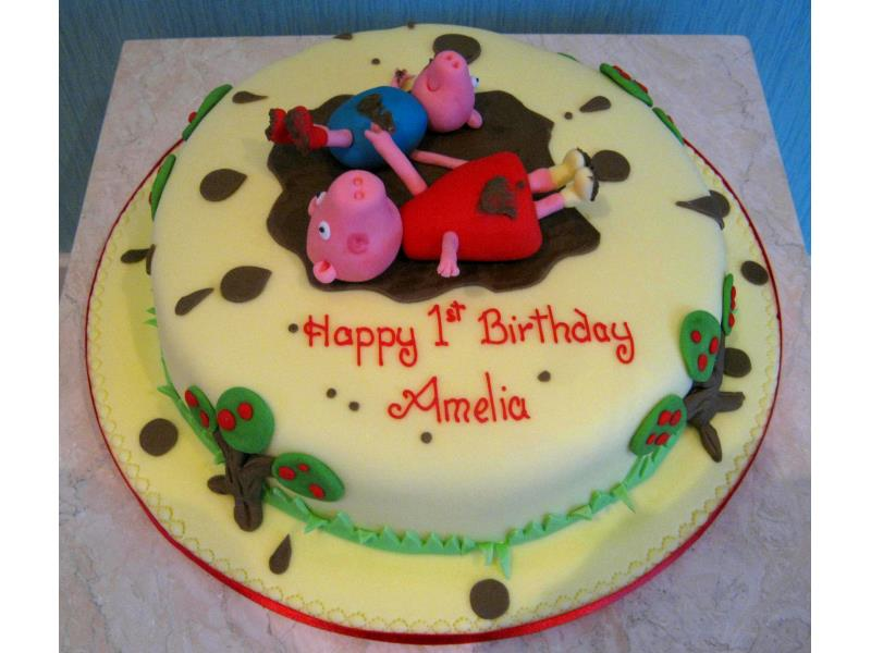 Muddy Puddles and Peppa in chocolate sponge for Amelia in Blackpool