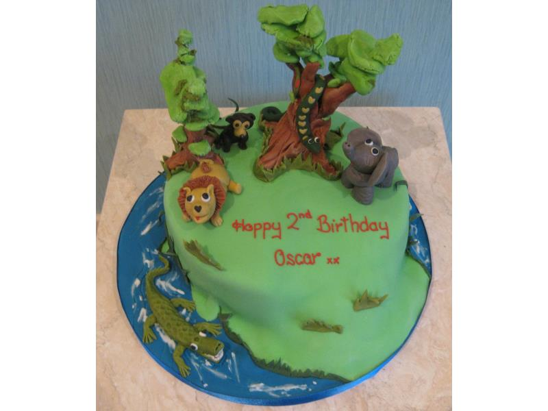 Jungle scene in vanilla sponge for Oscar's birthday in Fleetwood
