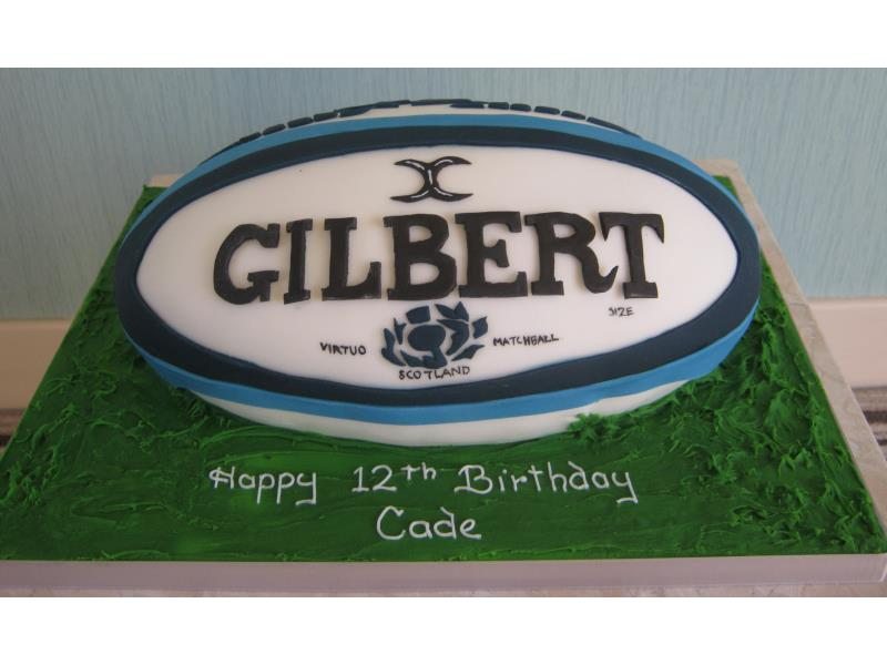 Gilbert - Scottish rugby ball in chocolate sponge for Cade in Treales, Preston