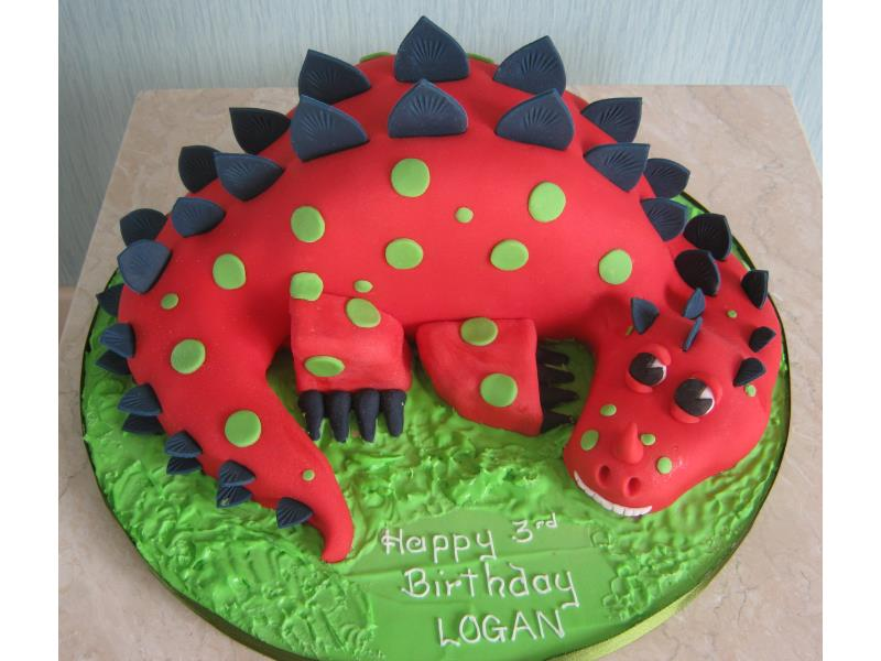 Red Dinosaur in lemon sponge for Logan in Bispham