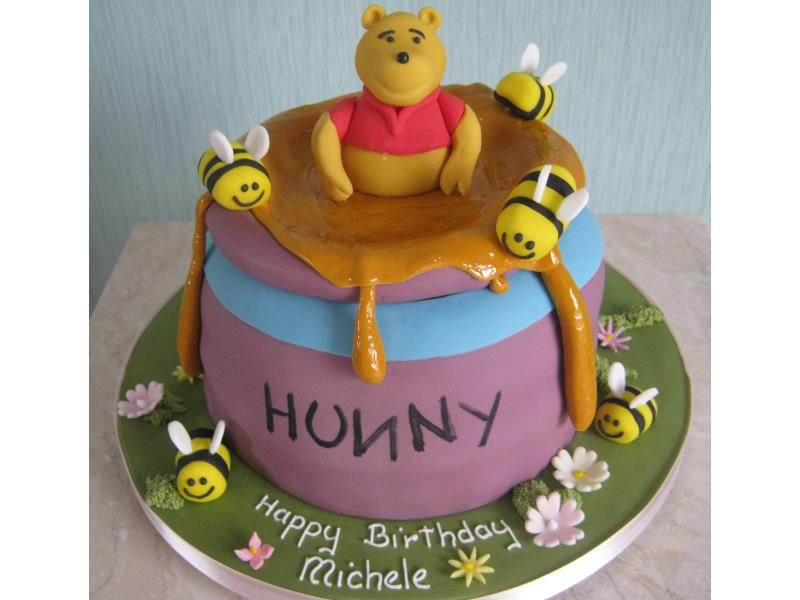 Winnie The Pooh in chocolate sponge for Michele's birthday in Blackpool